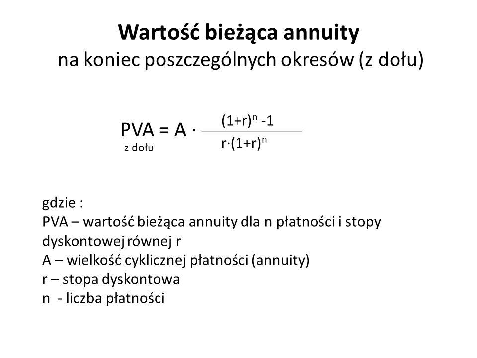 Wartość bieżąca annuity na koniec poszczególnych okresów (z dołu) PVA = A ∙ (1+r) n -1 r∙(1+r) n gdzie : PVA – wartość bieżąca annuity dla n płatności