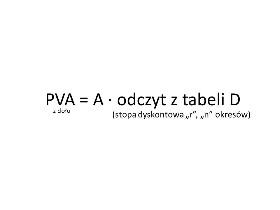 """PVA = A ∙ odczyt z tabeli D (stopa dyskontowa """"r"""", """"n"""" okresów) z dołu"""