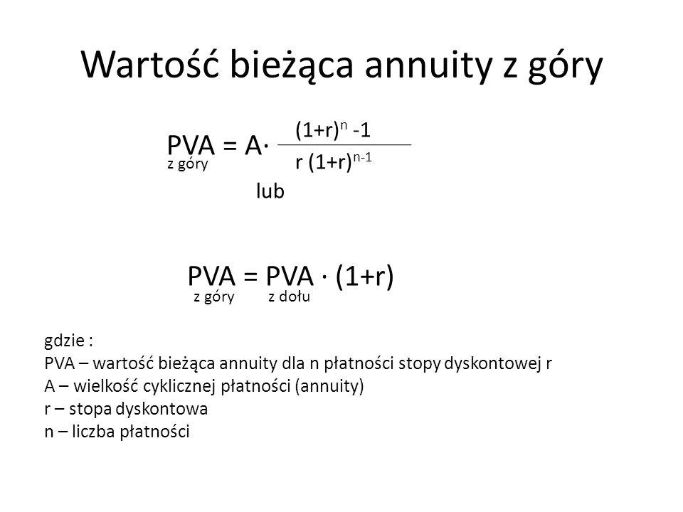 Wartość bieżąca annuity z góry PVA = A∙ lub PVA = PVA ∙ (1+r) (1+r) n -1 r (1+r) n-1 z góry z dołu gdzie : PVA – wartość bieżąca annuity dla n płatnoś