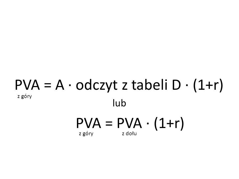 PVA = A ∙ odczyt z tabeli D ∙ (1+r) lub PVA = PVA ∙ (1+r) z góry z dołu