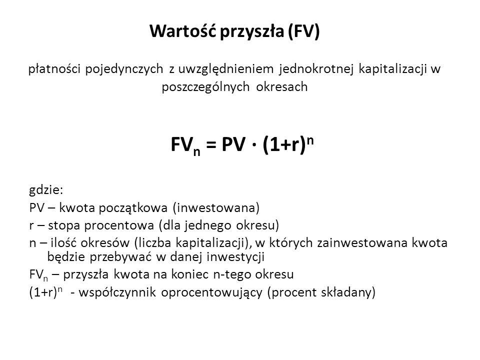 Wartość przyszła (FV) płatności pojedynczych z uwzględnieniem jednokrotnej kapitalizacji w poszczególnych okresach FV n = PV ∙ (1+r) n gdzie: PV – kwo