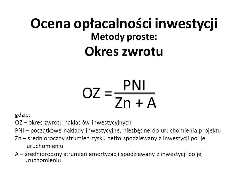 Ocena opłacalności inwestycji Metody proste: Okres zwrotu gdzie: OZ – okres zwrotu nakładów inwestycyjnych PNI – początkowe nakłady inwestycyjne, niez