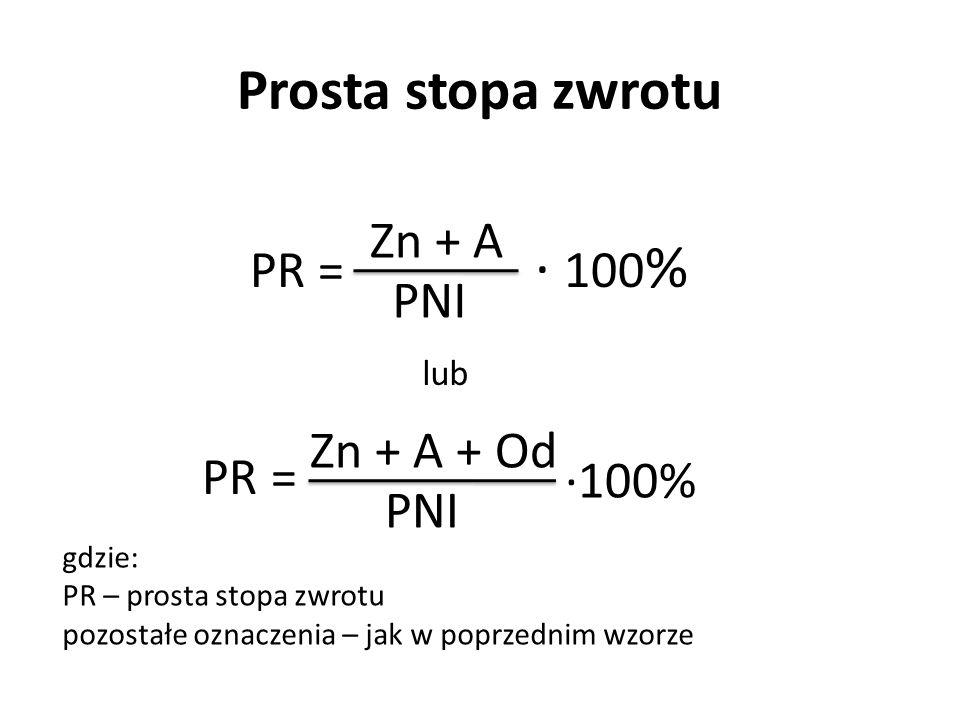 Prosta stopa zwrotu PR = PR = Zn + A PNI ∙ 100 % Zn + A + Od PNI lub gdzie: PR – prosta stopa zwrotu pozostałe oznaczenia – jak w poprzednim wzorze ∙1