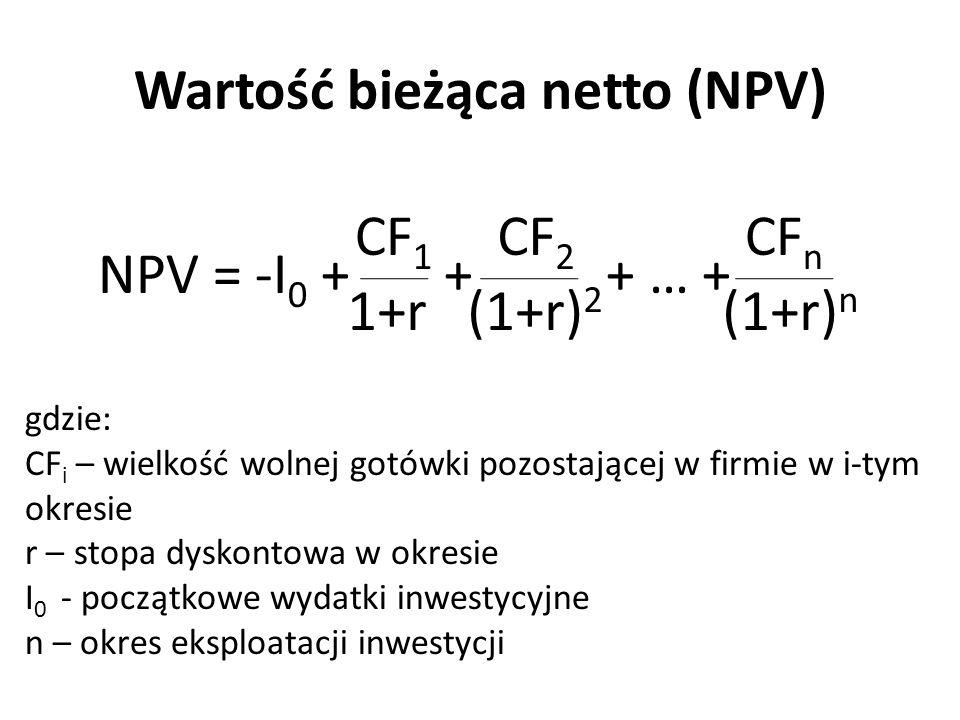 Wartość bieżąca netto (NPV) NPV = -I 0 + + + … + CF 1 1+r CF 2 (1+r) 2 CF n (1+r) n gdzie: CF i – wielkość wolnej gotówki pozostającej w firmie w i-ty