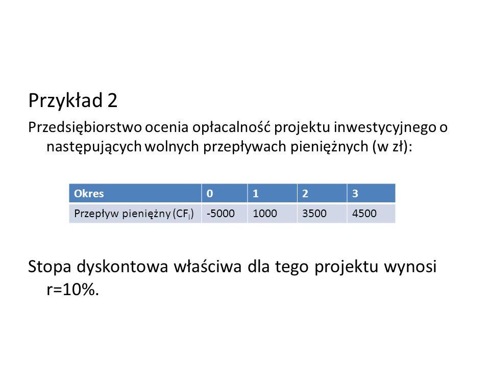 Przykład 2 Przedsiębiorstwo ocenia opłacalność projektu inwestycyjnego o następujących wolnych przepływach pieniężnych (w zł): Stopa dyskontowa właści