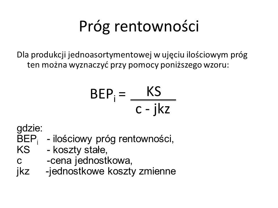 Próg rentowności Dla produkcji jednoasortymentowej w ujęciu ilościowym próg ten można wyznaczyć przy pomocy poniższego wzoru: BEP i = gdzie: BEP i - i