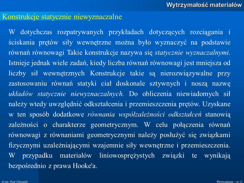 Wprowadzenie – nr 11 Wytrzymałość materiałów dr inż.