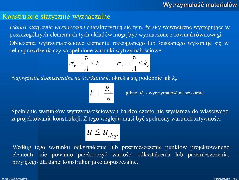 Wprowadzenie – nr 8 Wytrzymałość materiałów dr inż.