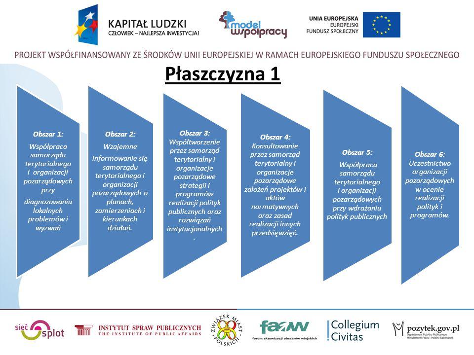 Płaszczyzna 1 Obszar 2: Wzajemne informowanie się samorządu terytorialnego i organizacji pozarządowych o planach, zamierzeniach i kierunkach działań.