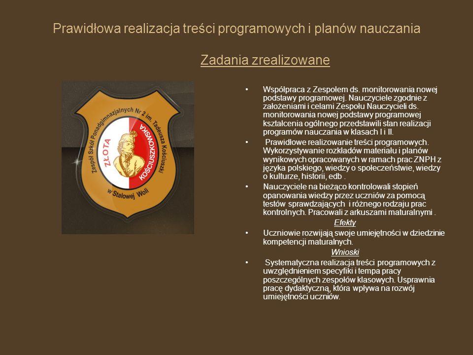 Prawidłowa realizacja treści programowych i planów nauczania Zadania zrealizowane Współpraca z Zespołem ds. monitorowania nowej podstawy programowej.