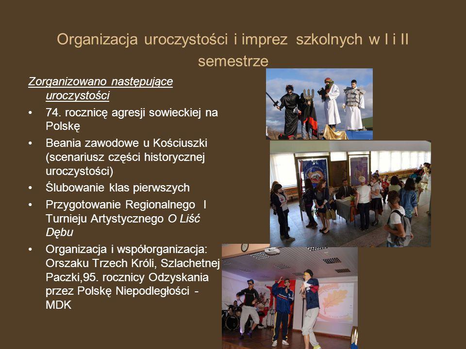 Organizacja uroczystości i imprez szkolnych w I i II semestrze Zorganizowano następujące uroczystości 74.