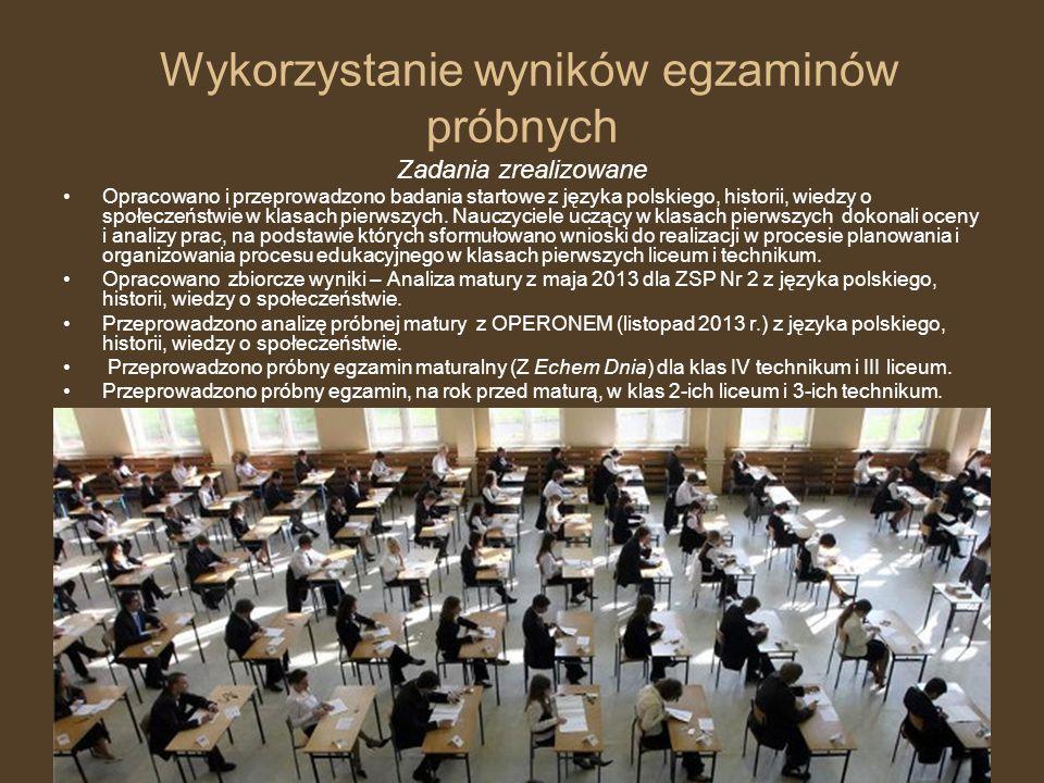 Wykorzystanie wyników egzaminów próbnych Zadania zrealizowane Opracowano i przeprowadzono badania startowe z języka polskiego, historii, wiedzy o społ