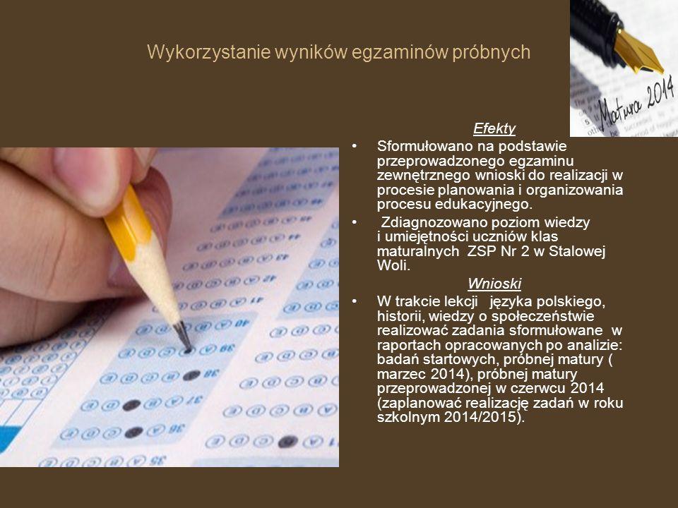 Wykorzystanie wyników egzaminów próbnych Efekty Sformułowano na podstawie przeprowadzonego egzaminu zewnętrznego wnioski do realizacji w procesie planowania i organizowania procesu edukacyjnego.