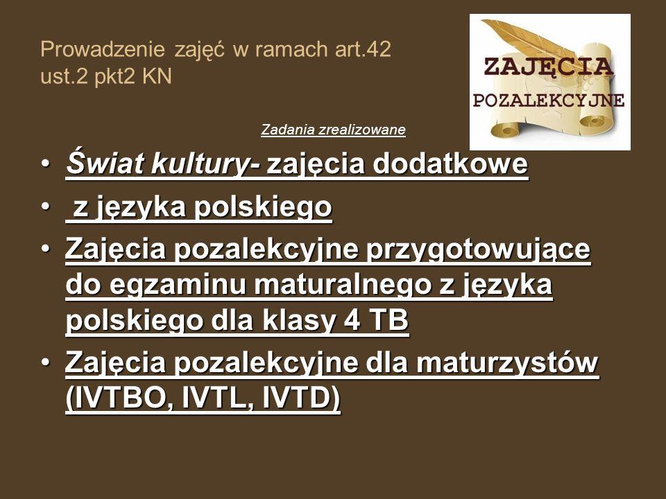 Prowadzenie zajęć w ramach art.42 ust.2 pkt2 KN Zadania zrealizowane Świat kultury- zajęcia dodatkoweŚwiat kultury- zajęcia dodatkowe z języka polskie