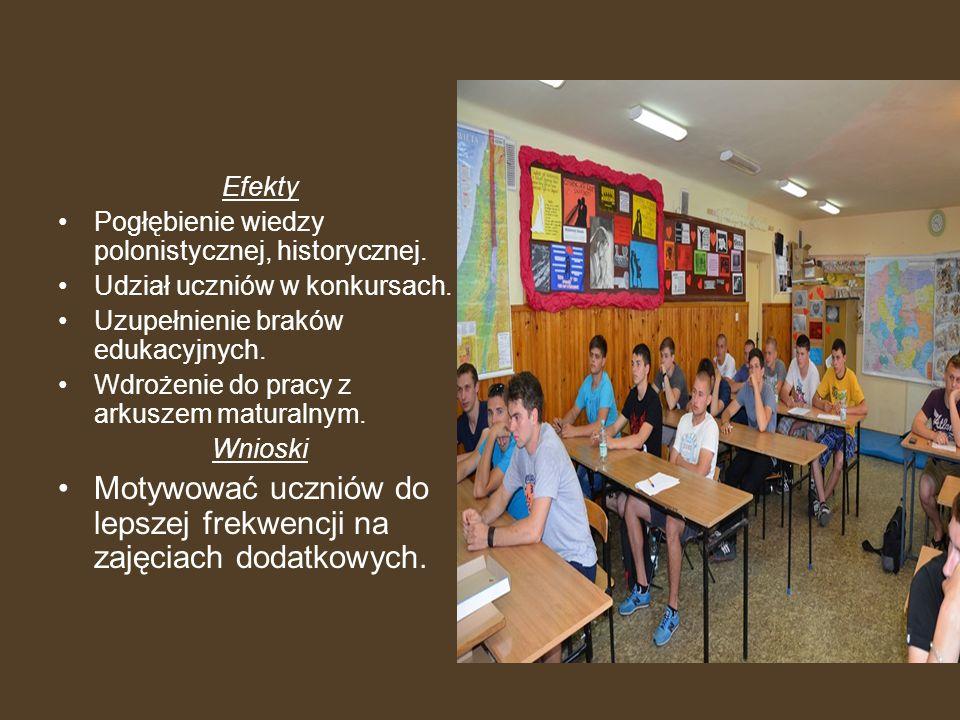 Efekty Pogłębienie wiedzy polonistycznej, historycznej. Udział uczniów w konkursach. Uzupełnienie braków edukacyjnych. Wdrożenie do pracy z arkuszem m