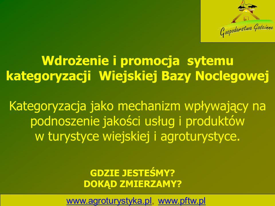 www.agroturystyka.plwww.agroturystyka.pl, www.pftw.plwww.pftw.pl Wdrożenie i promocja sytemu kategoryzacji Wiejskiej Bazy Noclegowej Kategoryzacja jak