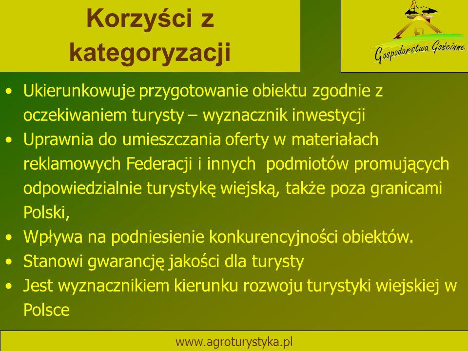 Korzyści z kategoryzacji www.agroturystyka.pl Ukierunkowuje przygotowanie obiektu zgodnie z oczekiwaniem turysty – wyznacznik inwestycji Uprawnia do u