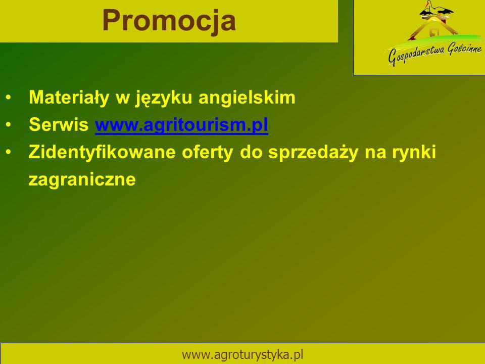 Promocja www.agroturystyka.pl Materiały w języku angielskim Serwis www.agritourism.plwww.agritourism.pl Zidentyfikowane oferty do sprzedaży na rynki z
