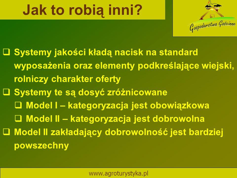 Jak to robią inni? www.agroturystyka.pl  Systemy jakości kładą nacisk na standard wyposażenia oraz elementy podkreślające wiejski, rolniczy charakter