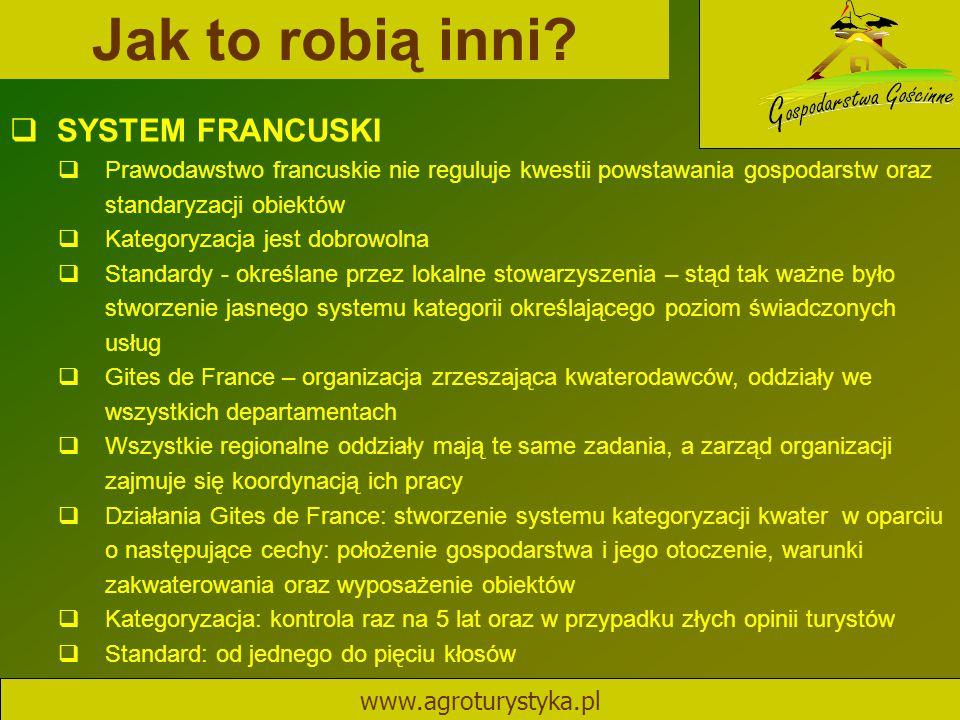 Jak to robią inni? www.agroturystyka.pl  SYSTEM FRANCUSKI  Prawodawstwo francuskie nie reguluje kwestii powstawania gospodarstw oraz standaryzacji o