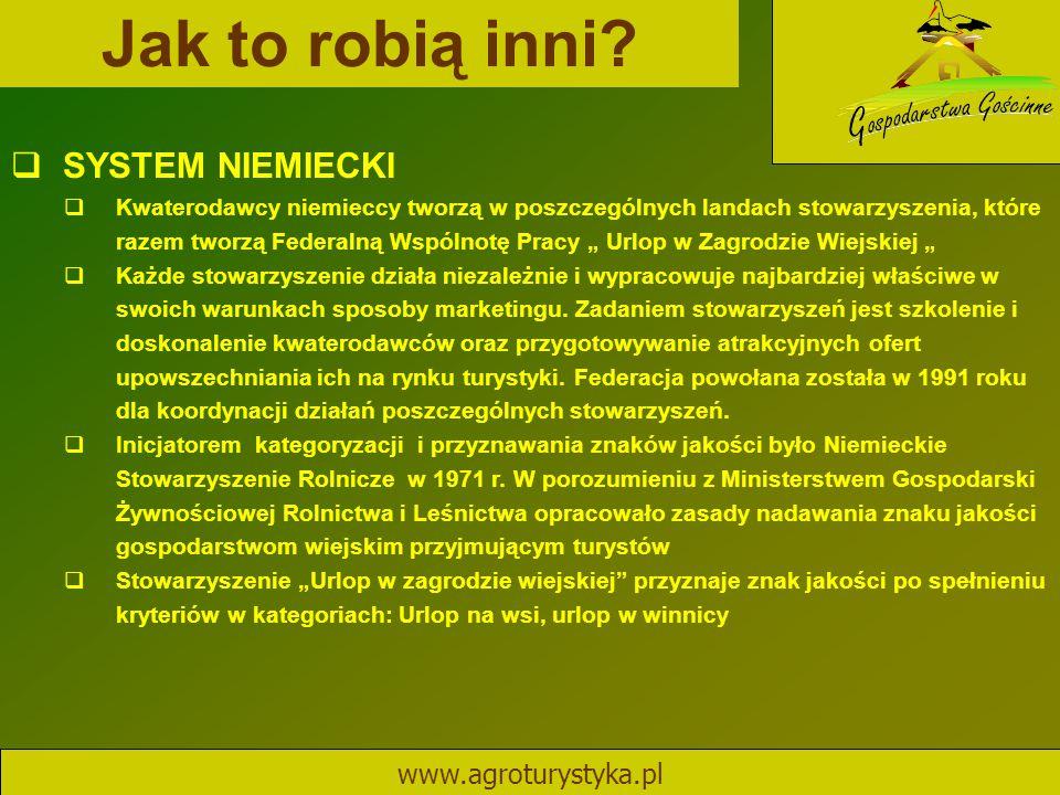 Jak to robią inni? www.agroturystyka.pl  SYSTEM NIEMIECKI  Kwaterodawcy niemieccy tworzą w poszczególnych landach stowarzyszenia, które razem tworzą