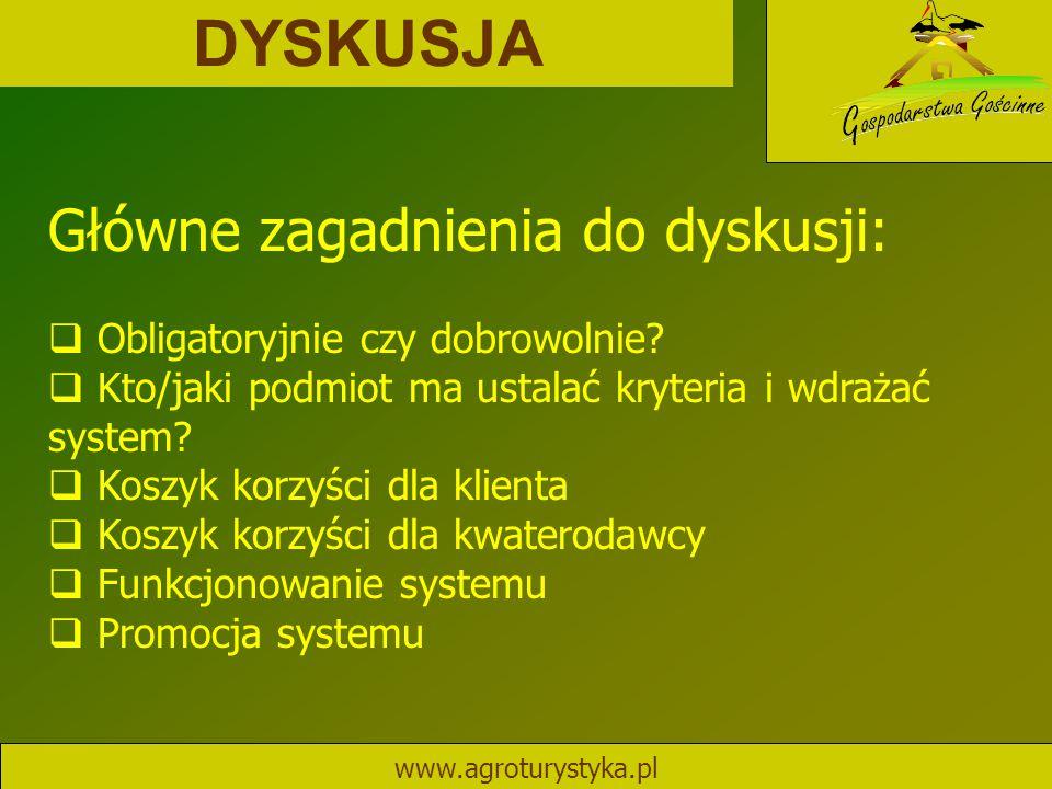 DYSKUSJA www.agroturystyka.pl Główne zagadnienia do dyskusji:  Obligatoryjnie czy dobrowolnie?  Kto/jaki podmiot ma ustalać kryteria i wdrażać syste