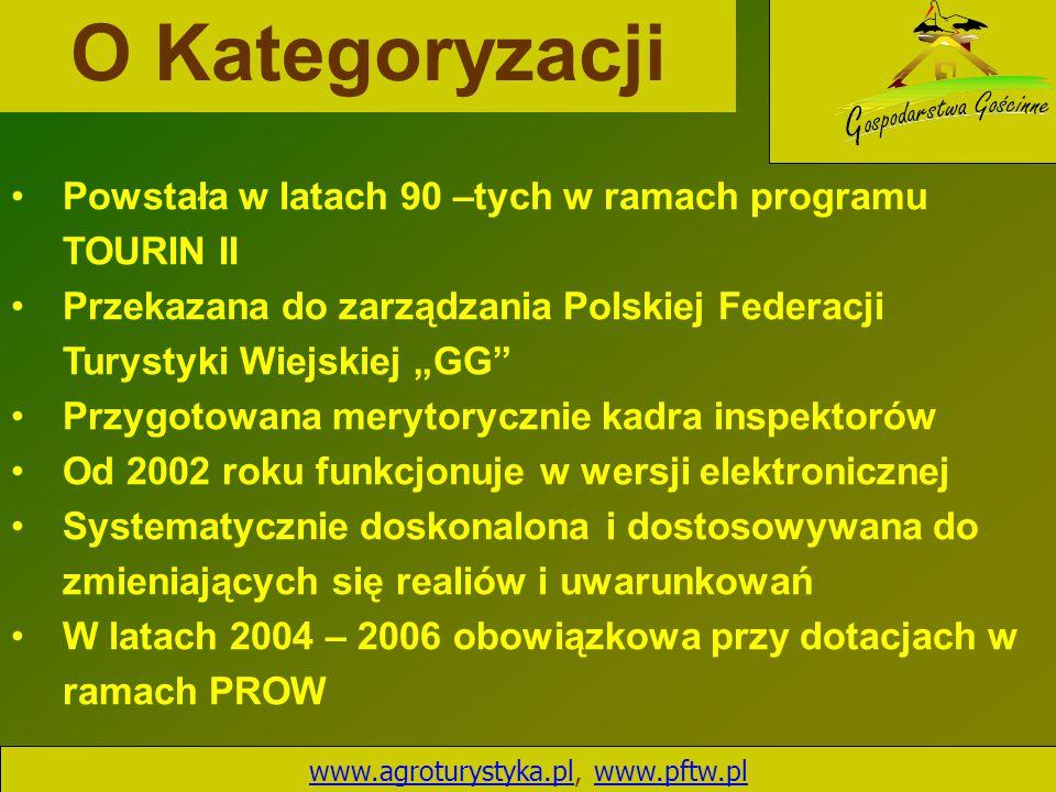 O Kategoryzacji www.agroturystyka.plwww.agroturystyka.pl, www.pftw.plwww.pftw.pl Powstała w latach 90 –tych w ramach programu TOURIN II Przekazana do