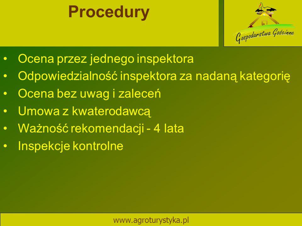 Procedury www.agroturystyka.pl Ocena przez jednego inspektora Odpowiedzialność inspektora za nadaną kategorię Ocena bez uwag i zaleceń Umowa z kwatero