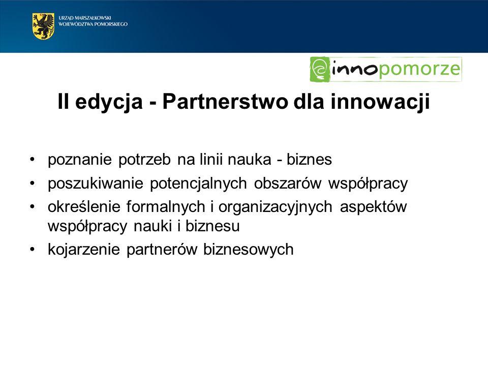 II edycja - Partnerstwo dla innowacji poznanie potrzeb na linii nauka - biznes poszukiwanie potencjalnych obszarów współpracy określenie formalnych i