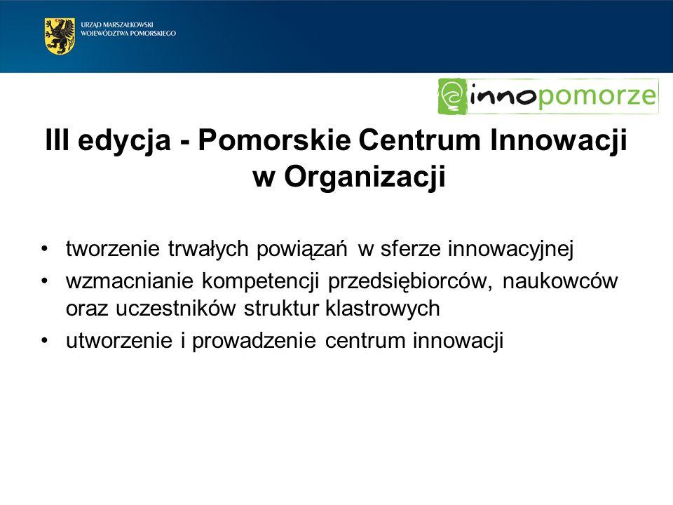III edycja - Pomorskie Centrum Innowacji w Organizacji tworzenie trwałych powiązań w sferze innowacyjnej wzmacnianie kompetencji przedsiębiorców, nauk