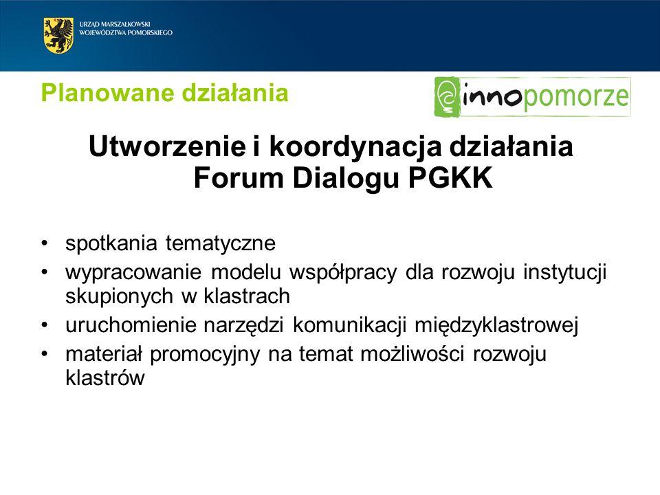 Planowane działania Utworzenie i koordynacja działania Forum Dialogu PGKK spotkania tematyczne wypracowanie modelu współpracy dla rozwoju instytucji s