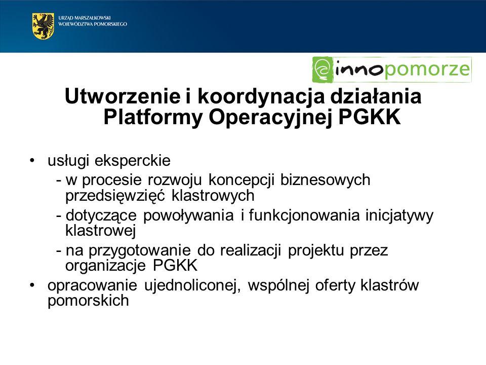 Utworzenie i koordynacja działania Platformy Operacyjnej PGKK usługi eksperckie - w procesie rozwoju koncepcji biznesowych przedsięwzięć klastrowych -