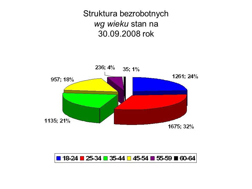Struktura bezrobotnych wg wieku stan na 30.09.2008 rok