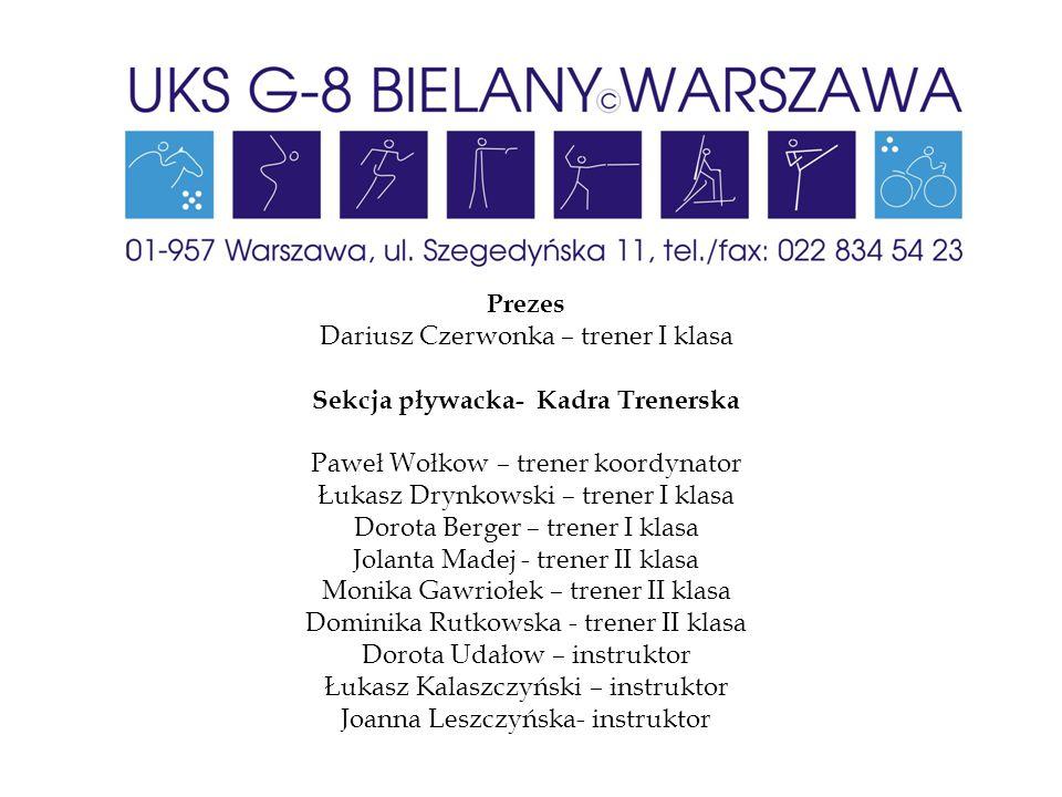 Prezes Dariusz Czerwonka – trener I klasa Sekcja pływacka- Kadra Trenerska Paweł Wołkow – trener koordynator Łukasz Drynkowski – trener I klasa Dorota