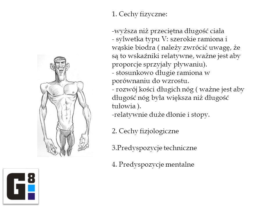 1. Cechy fizyczne: -wyższa niż przeciętna długość ciała - sylwetka typu V: szerokie ramiona i wąskie biodra ( należy zwrócić uwagę, że są to wskaźniki