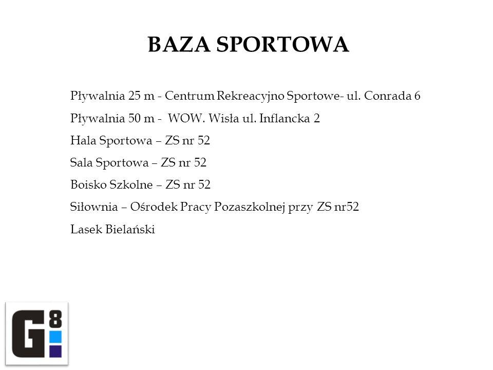 BAZA SPORTOWA Pływalnia 25 m - Centrum Rekreacyjno Sportowe- ul. Conrada 6 Pływalnia 50 m - WOW. Wisła ul. Inflancka 2 Hala Sportowa – ZS nr 52 Sala S
