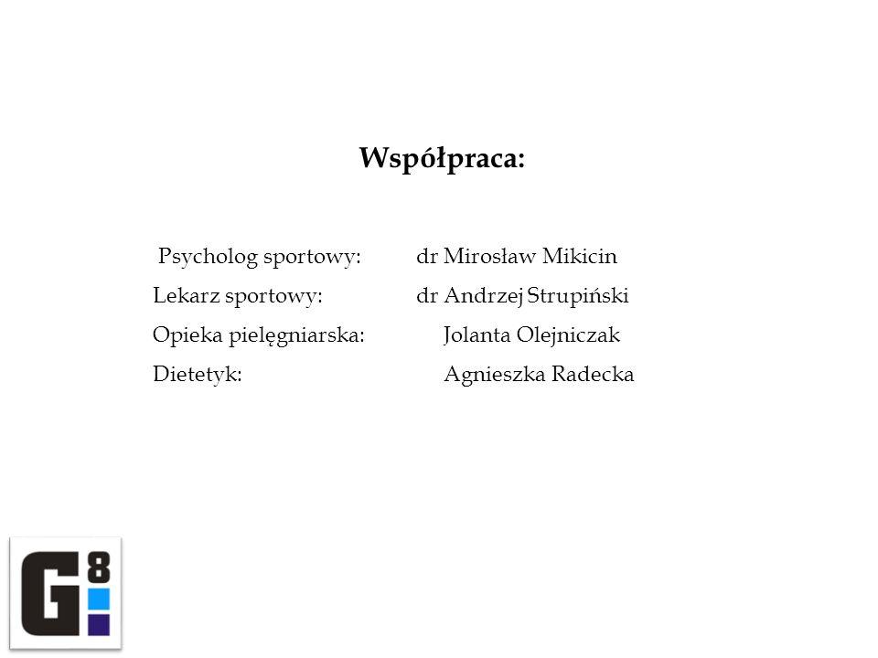 Współpraca: Psycholog sportowy: dr Mirosław Mikicin Lekarz sportowy: dr Andrzej Strupiński Opieka pielęgniarska: Jolanta Olejniczak Dietetyk: Agnieszk