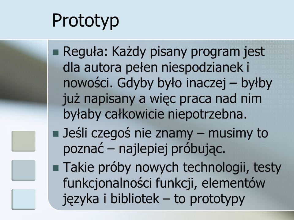 Prototyp Reguła: Każdy pisany program jest dla autora pełen niespodzianek i nowości.