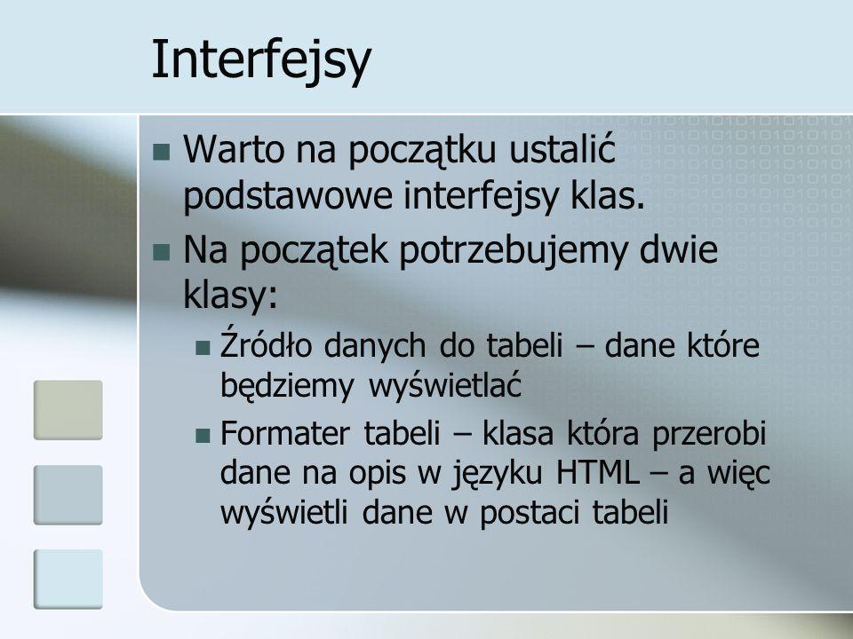 Interfejsy Warto na początku ustalić podstawowe interfejsy klas.