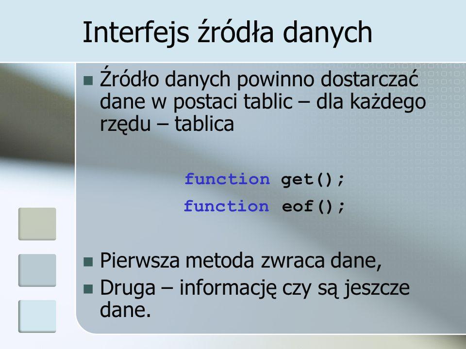 Interfejs źródła danych Źródło danych powinno dostarczać dane w postaci tablic – dla każdego rzędu – tablica function get() ; function eof() ; Pierwsza metoda zwraca dane, Druga – informację czy są jeszcze dane.