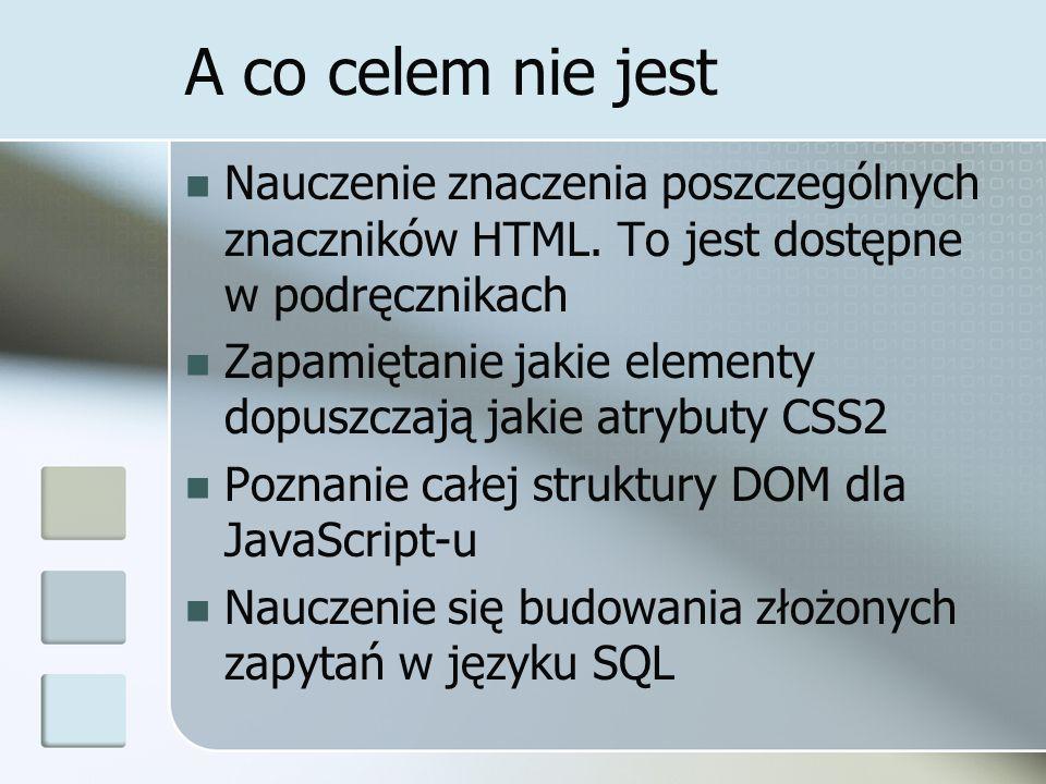 A co celem nie jest Nauczenie znaczenia poszczególnych znaczników HTML.