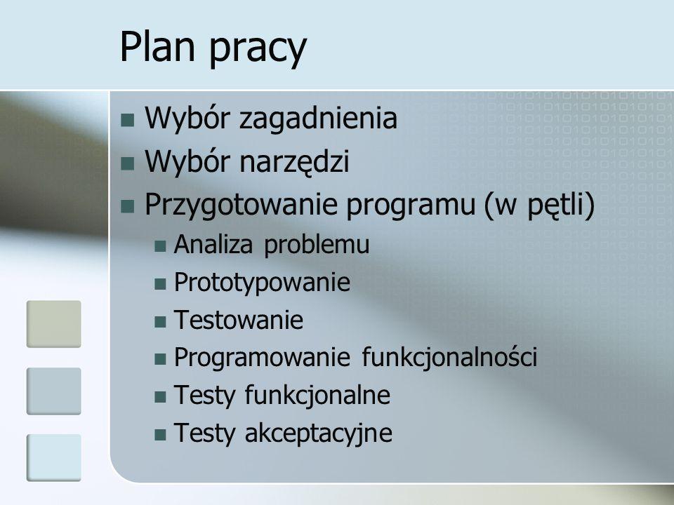 Plan pracy Wybór zagadnienia Wybór narzędzi Przygotowanie programu (w pętli) Analiza problemu Prototypowanie Testowanie Programowanie funkcjonalności Testy funkcjonalne Testy akceptacyjne