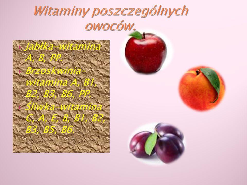  Jabłka-witamina A, B, PP.  Brzoskwinia- witamina A, B1, B2, B3, B6, PP.  Śliwka-witamina C, A, E, B, B1, B2, B3, B5, B6.