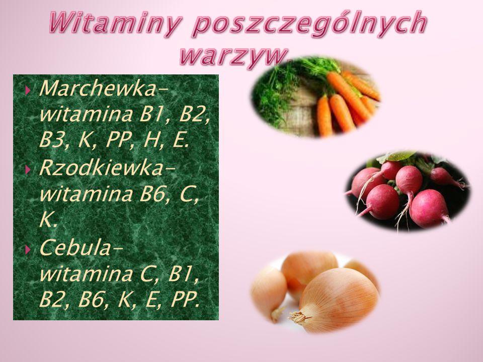 MMarchewka- witamina B1, B2, B3, K, PP, H, E. RRzodkiewka- witamina B6, C, K. CCebula- witamina C, B1, B2, B6, K, E, PP.