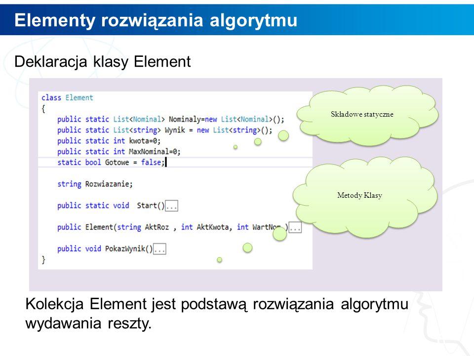 Elementy rozwiązania algorytmu 6 Deklaracja klasy Element Kolekcja Element jest podstawą rozwiązania algorytmu wydawania reszty. Składowe statyczne Me