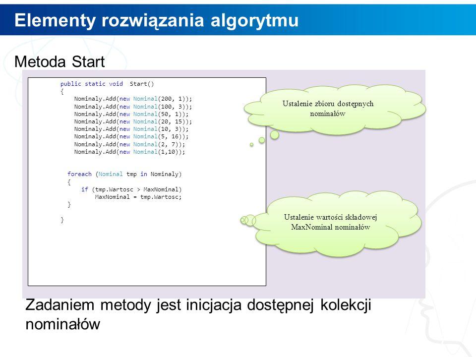 Elementy rozwiązania algorytmu 7 Metoda Start Zadaniem metody jest inicjacja dostępnej kolekcji nominałów public static void Start() { Nominaly.Add(ne