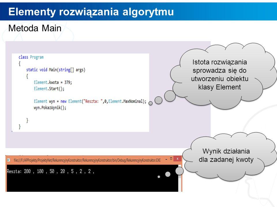 Wykorzystanie algorytmu 10 Obszar definiowania zadania Obszar prezentacji wyniku
