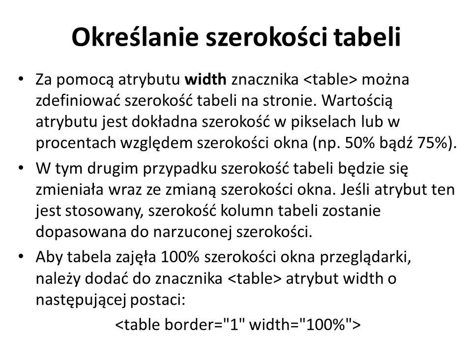 Określanie szerokości tabeli Za pomocą atrybutu width znacznika można zdefiniować szerokość tabeli na stronie.