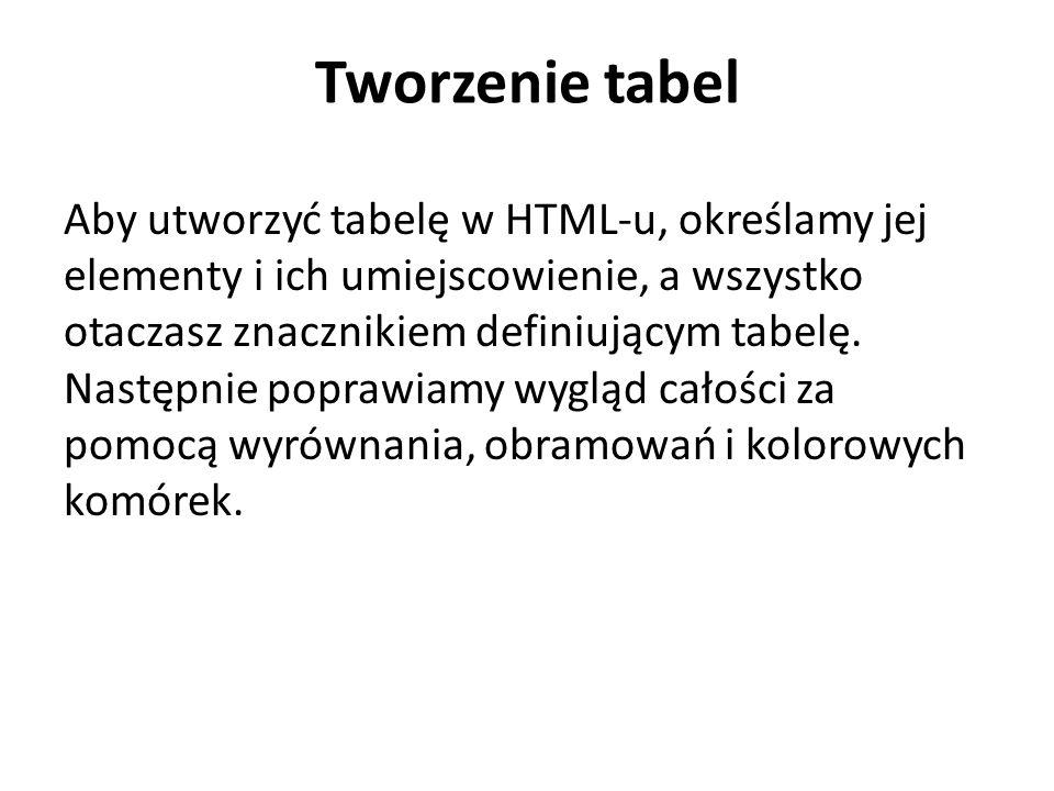 Tworzenie tabel Aby utworzyć tabelę w HTML-u, określamy jej elementy i ich umiejscowienie, a wszystko otaczasz znacznikiem definiującym tabelę.