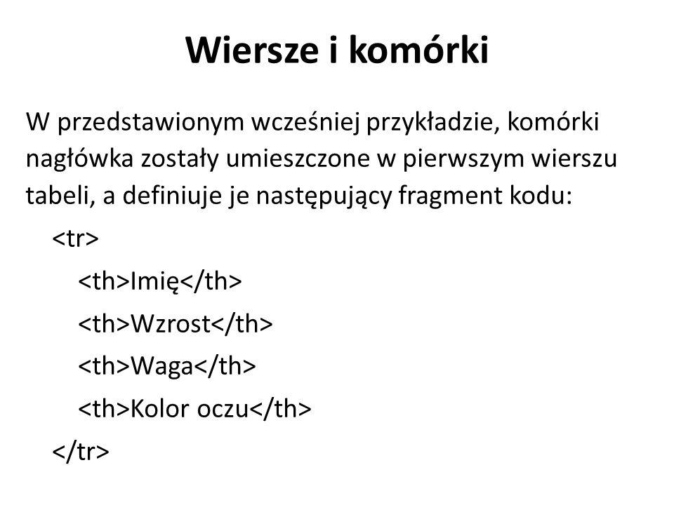 Wiersze i komórki W przedstawionym wcześniej przykładzie, komórki nagłówka zostały umieszczone w pierwszym wierszu tabeli, a definiuje je następujący fragment kodu: Imię Wzrost Waga Kolor oczu